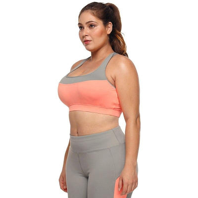 Plus Size Coral Grey Crossed  Back Sports Bra