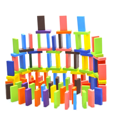 Wooden dominoes building blocks