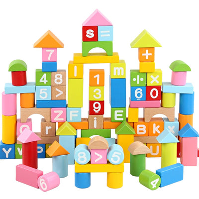 Alphabet letters & numbers wooden blocks - 100 pcs