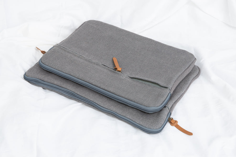 Earthy Home Style, Ethically Made Homewares, Handmade, eco-conscious, Jute Canvas Laptop iPad bag