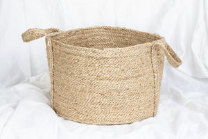 Earthy Home Style, Ethically Made Homewares, Handmade, eco-conscious, Short Round Jute Basket