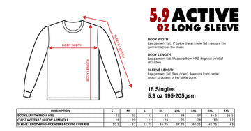 Active Long Sleeve - Shakawear - Size Chart