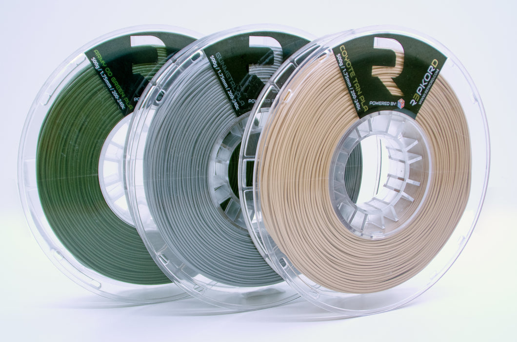 LIMITED EDITION #RumblePak: 3 Spools! Army OD Green, Gunmetal Gray, Coyote Tan 1.75 PLA MADE IN THE USA!