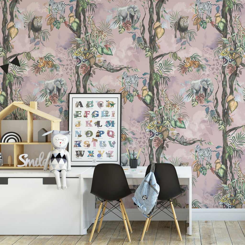Safari So Goody - Dusty Rose Wallpaper 60 x 300cm Roll