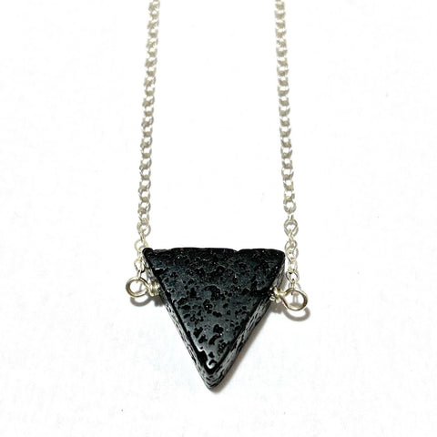 Aromatherapy Necklace - Black Triangle Lava Rock on Sterling Silver Chain