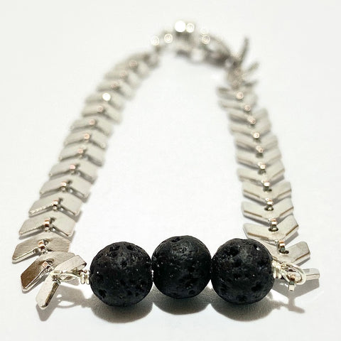Aromatherapy Bracelet - Black Lava Rock on Silver Ivy