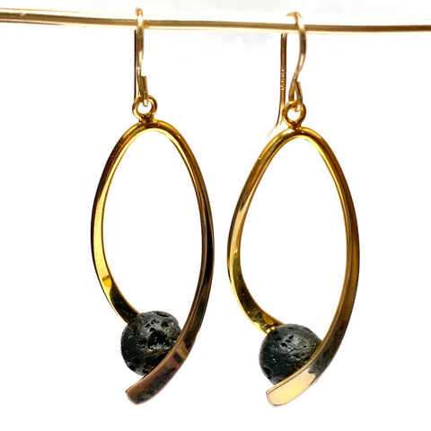 Aromatherapy Swoosh Earrings - Gold with Black Lava Rock