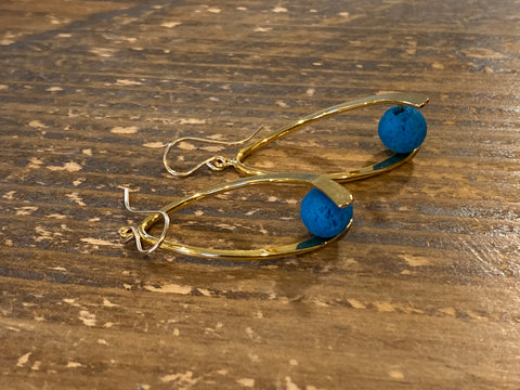 Aromatherapy Swoosh Earrings - Gold with Blue Lava Rock