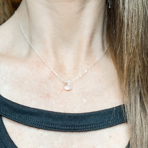 Silver rose quartz teardrop gemstone necklace