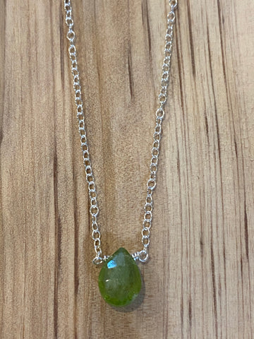Silver Peridot teardrop gemstone necklace
