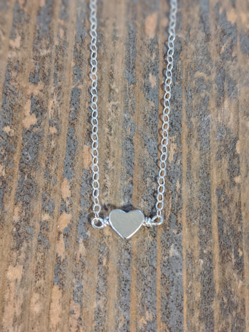Silver small solid heart necklace