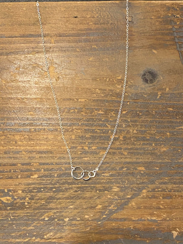 Silver tiny infinity circle necklace