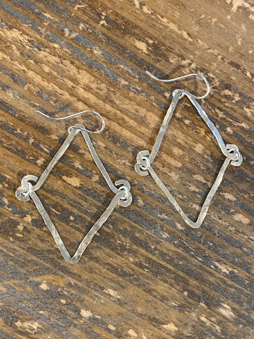 Silver triangle hand hammered earrings