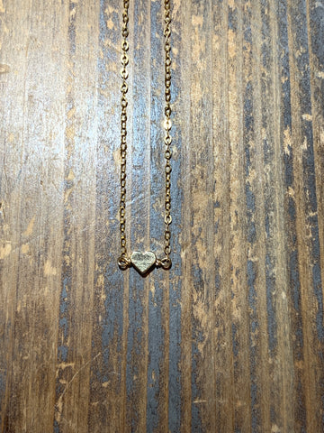 Gold small solid heart necklace