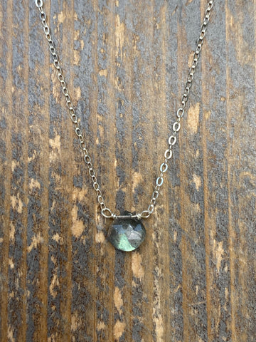 Silver tiny labradorite gemstone necklace