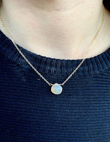 Gold peach chalcedony gemstone necklace