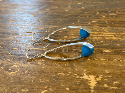 Aromatherapy Swoosh Earrings - Silver with Blue Lava Rock