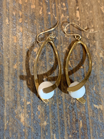 White and Gold Swoosh Earrings