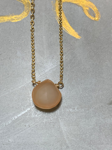 Gold peach chalcedony teardrop choker necklace