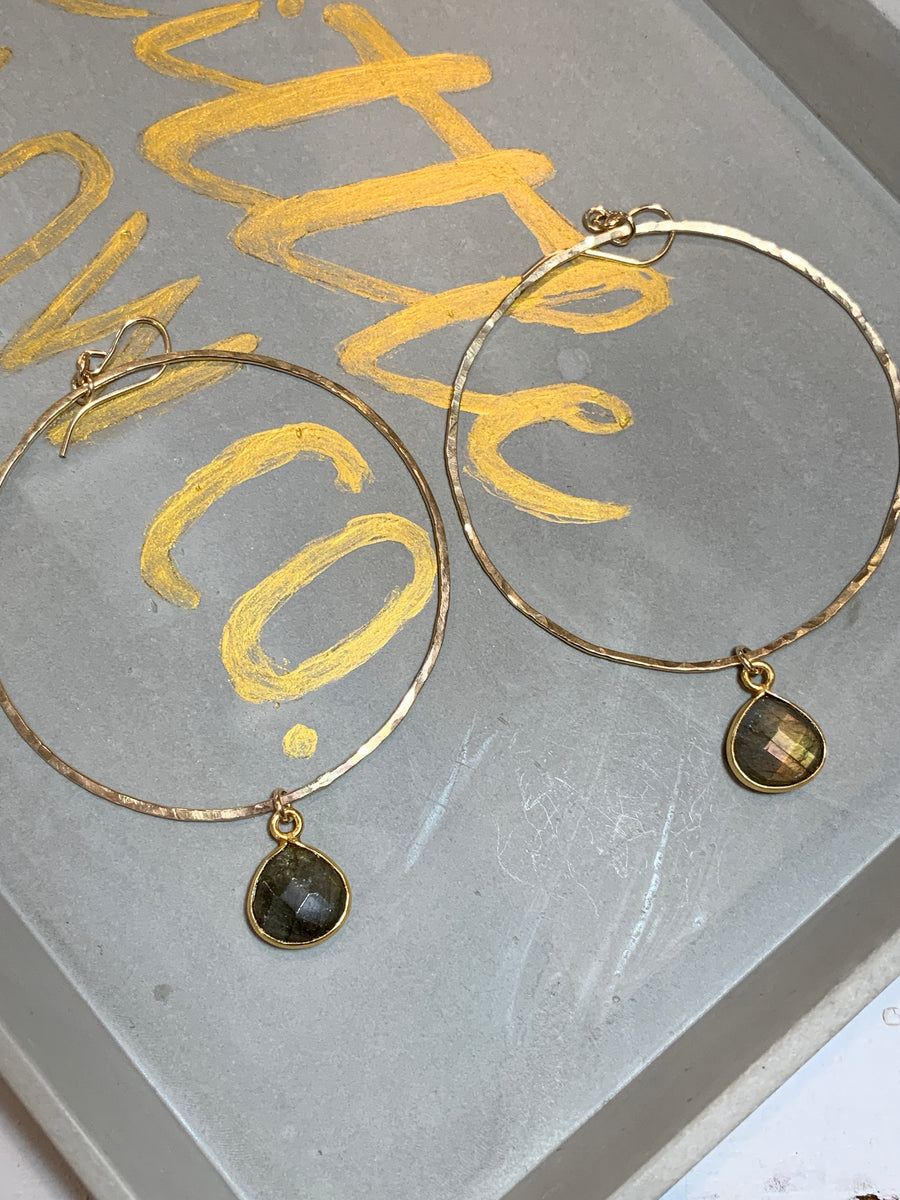 Labarodite teardrops on hand hammered gold hoops 2