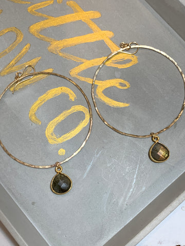 Labarodite teardrops on hand hammered gold hoops 2""