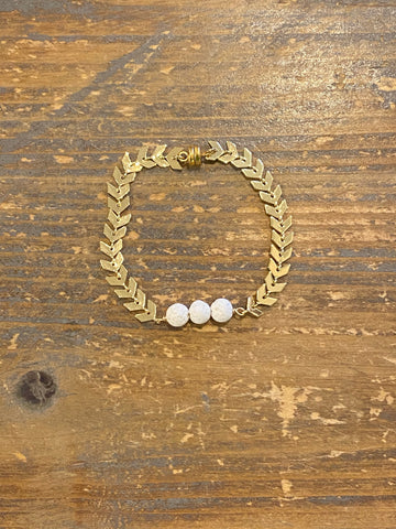 Aromatherapy Bracelet - White Lava Rock on Gold Ivy