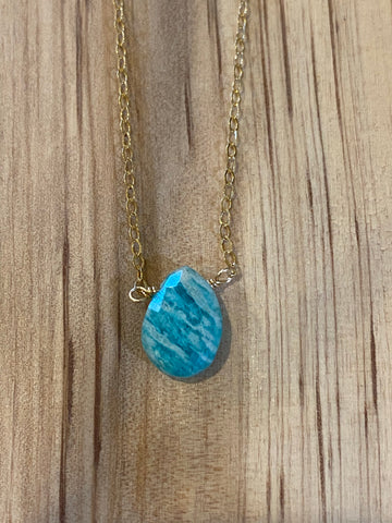 Gold mint amazonite teardrop gemstone necklace