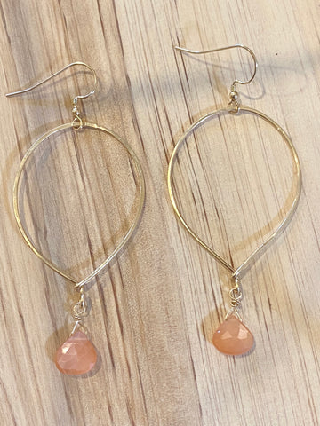 14K gold filled upside down teardrops with peach moonstone earrings