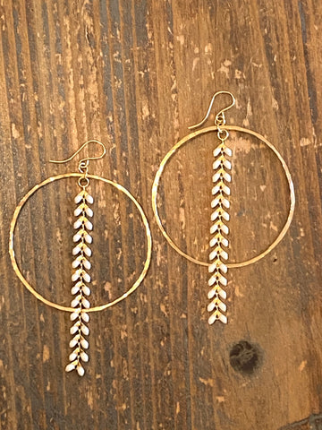 Hand Hammered 14K Gold Filled Hoop & White Ivy Earrings