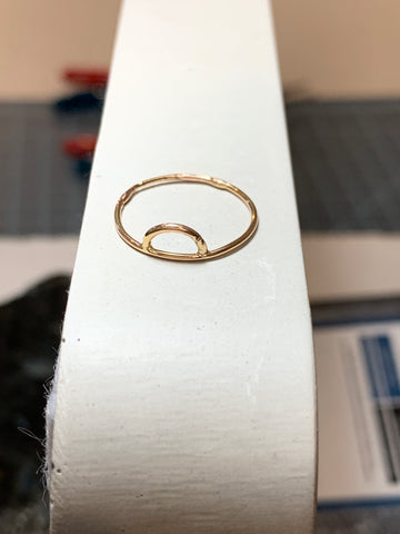 Gold half moon ring size 4