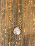 Pearlescent blush pink freshwater pearl teardrop gold necklace