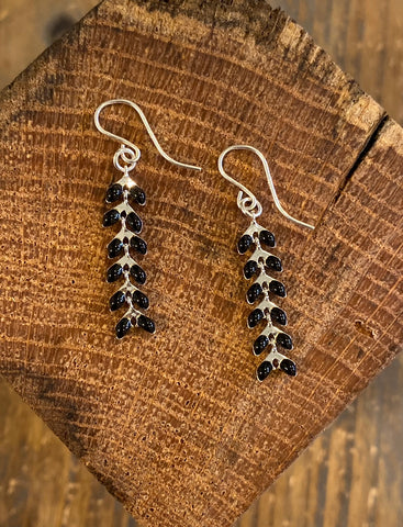 Black on Silver Ivy Earrings