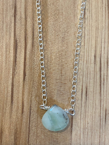 Silver mint amazonite teardrop choker necklace