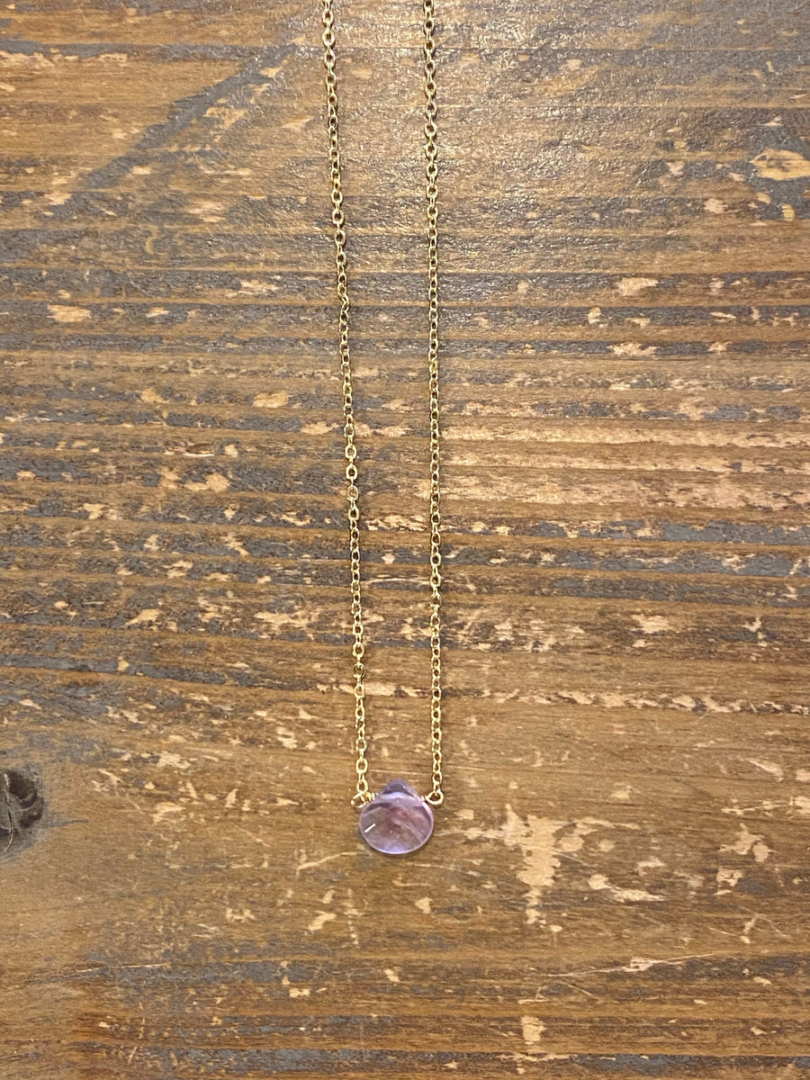 Gold amethyst teardrop choker necklace