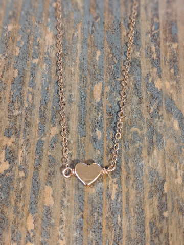 Rose Gold small solid heart necklace