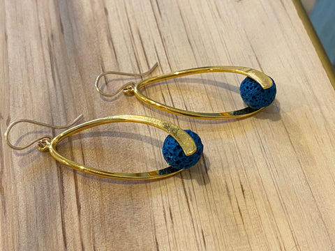 Dark Teal and Gold Swoosh Earrings