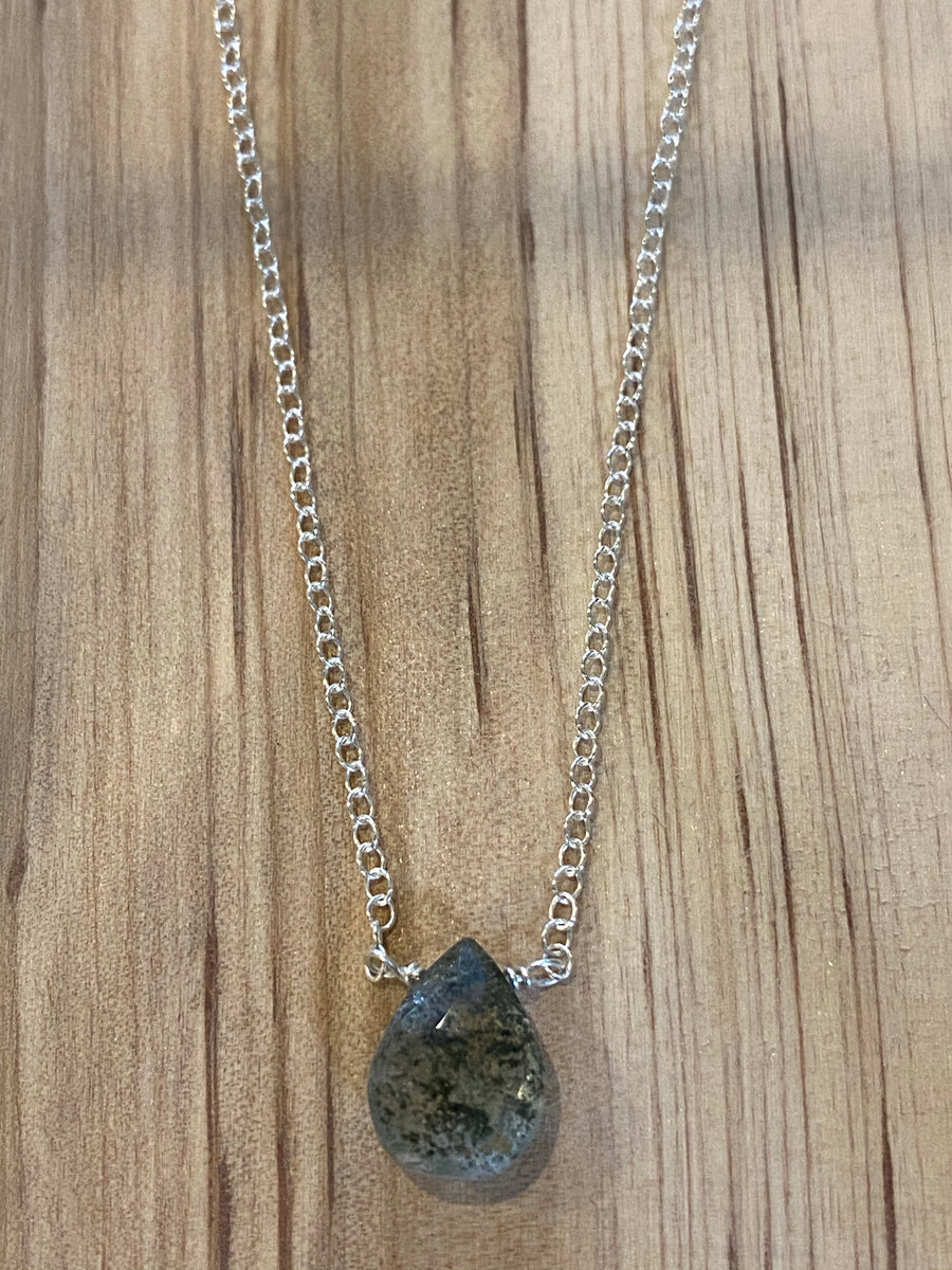Silver lodolite teardrop necklace