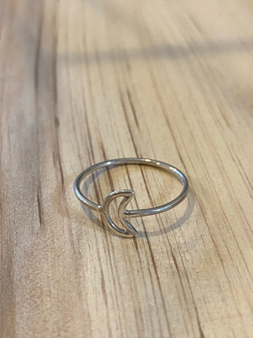 Silver moon ring size 6
