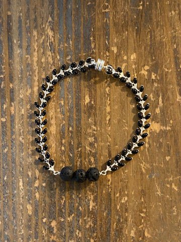 Aromatherapy Bracelet - Black Lava Rock on Silver and black Ivy