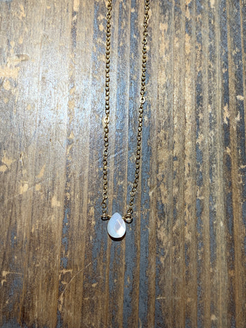 Gold tiny pearl shell teardrop necklace