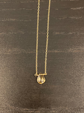 Gold citrine teardrop necklace