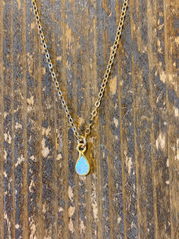 Gold Opal Teardrop Pendant Necklace