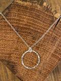 Silver small hammered circle necklace