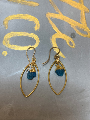 Gold blue apatite leaf earrings
