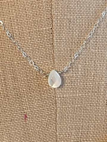 Silver tiny pearl shell teardrop necklace