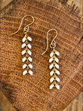 White and Gold Ivy Earrings