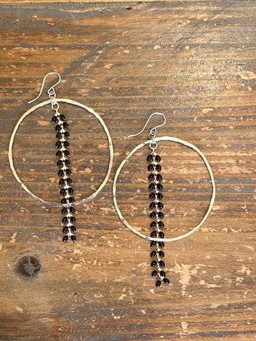 Sterling Silver Hoop & black Ivy Earrings