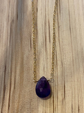 Gold amethyst large teardrop choker necklace