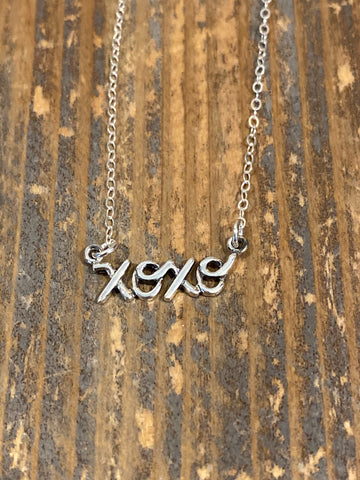 Silver xoxo script necklace