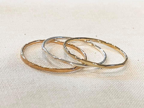 Silver, Gold & Rose Gold Hammered Rings